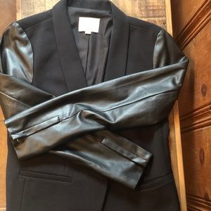 Loft blazer with faux leather sleeves